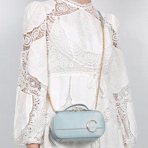 NEW Chloé C Vanity Mini Crossbody Blue Leather Bag